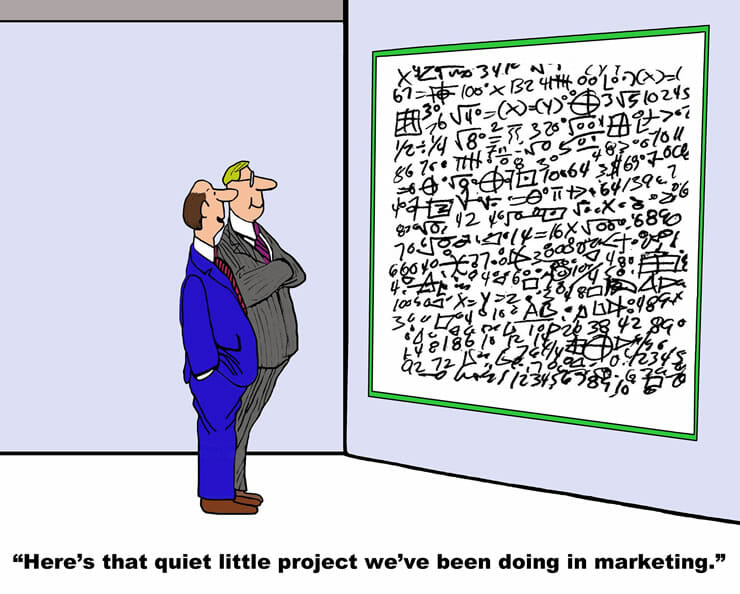 cartoon of businessmen looking at whiteboard covered in math formulas