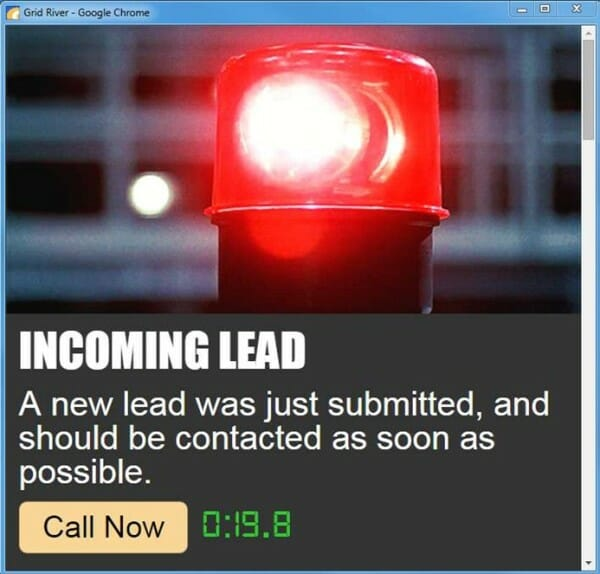 incoming lead alert example