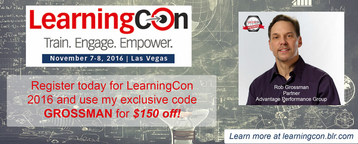Sign up to attend LearningCon2016 with Rob's exclsuive discount code.