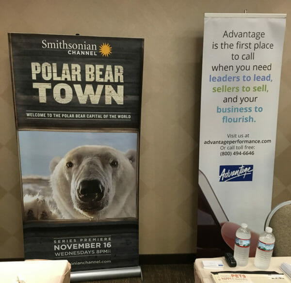 The Advantage exhibition booth was next to one for the Smithsonian Channel featuring Polar Bear Town