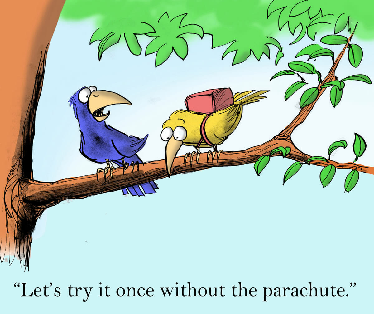 "Cartoon of birds in a tree, one of them wearing a parachute. ""Let's try it once without the parachute."""