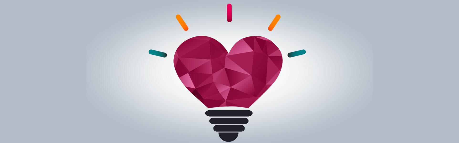 Business impact of emotional intelligence - heart lightbulb artwork