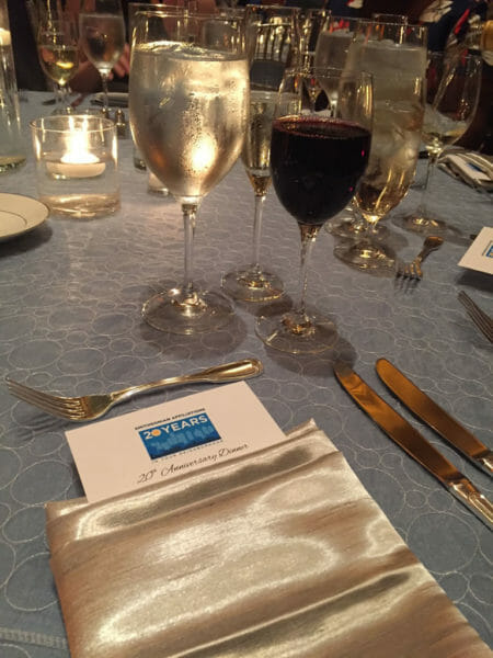 A place setting at the 20th anniversary dinner reception at the National Portrait Gallery