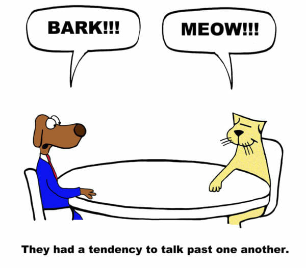 communication tips - dog and cat cartoon