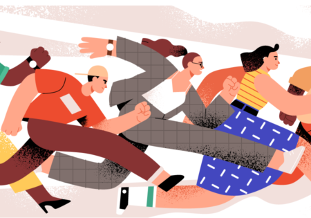 Help them get there faster - career conversations employees want and organizations need more than ever - a webinar with Christine DiDonato (illustration of people running)